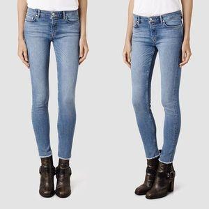 All Saints Mast Fray Hem Skinny Jeans Indigo 26